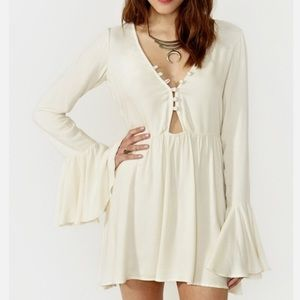 For Love & Lemons //  Lotus Bell Sleeve Mini Dress